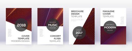 Modern brochure design template set. Orange abstract lines on wine red background. Awesome brochure design. Terrific catalog, poster, book template etc. Illusztráció