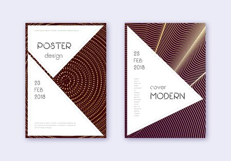 Stylish cover design template set. Gold abstract lines on maroon background. Fancy cover design. Actual catalog, poster, book template etc. Illusztráció