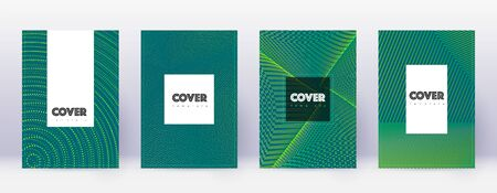 Hipster brochure design template set. Green abstract lines on dark background. Amazing brochure design. Resplendent catalog, poster, book template etc.