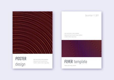 Minimalistic cover design template set. Orange abstract lines on wine red background. Elegant cover design. Glamorous catalog, poster, book template etc.