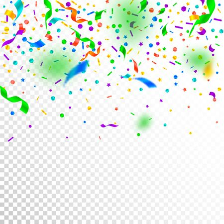 Streamers and confetti. Festive tinsel and foil ribbons. Confetti gradient on white transparent background. Beauteous paty overlay template. Dazzling celebration concept.