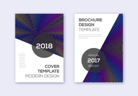 Modern cover design template set. Rainbow abstract lines on dark blue background. Extraordinary cover design. Unequaled catalog, poster, book template etc. Illusztráció