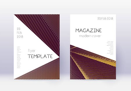 Triangle cover design template set. Gold abstract lines on maroon background. Impressive cover design. Elegant catalog, poster, book template etc.