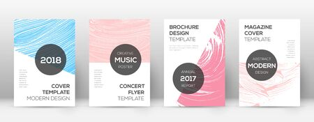 Cover page design template. Modern brochure layout. Comely trendy abstract cover page. Pink and blue grunge texture background. Unequaled poster.