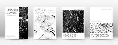 Cover page design template. Minimal brochure layout. Captivating trendy abstract cover page. Black and white grunge texture background. Memorable poster.