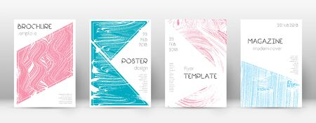 Cover page design template. Triangle brochure layout. Classy trendy abstract cover page. Pink and blue grunge texture background. Uncommon poster. Illusztráció