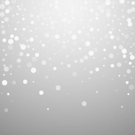 White dots Christmas background. Subtle flying snow flakes and stars on light grey background. Bizarre winter silver snowflake overlay template. Emotional vector illustration. Ilustracja
