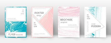 Cover page design template. Stylish brochure layout. Captivating trendy abstract cover page. Pink and blue grunge texture background. Vibrant poster.