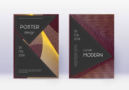 Black cover design template set. Gold abstract lines on maroon background. Actual cover design. Fresh catalog, poster, book template etc.