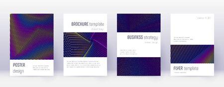 Minimalistic brochure design template set. Rainbow abstract lines on dark blue background. Attractive brochure design. Quaint catalog, poster, book template etc. Illusztráció