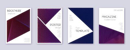 Triangle brochure design template set. Violet abstract lines on dark background. Breathtaking brochure design. Unique catalog, poster, book template etc.