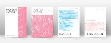 Cover page design template. Minimal brochure layout. Classic trendy abstract cover page. Pink and blue grunge texture background. Amusing poster.