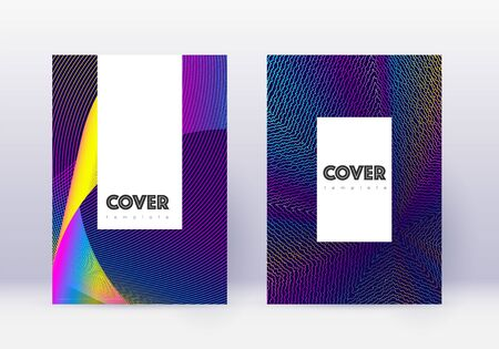 Hipster cover design template set. Rainbow abstract lines on dark blue background. Classic cover design. Wonderful catalog, poster, book template etc. Ilustração