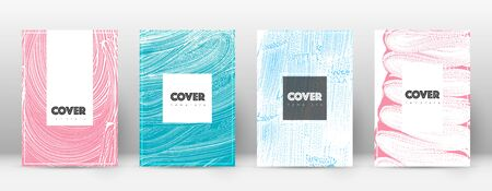 Cover page design template. Hipster brochure layout. Breathtaking trendy abstract cover page. Pink and blue grunge texture background. Wonderful poster. Ilustração