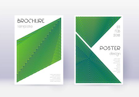 Triangle cover design template set. Green abstract lines on dark background. Ideal cover design. Amazing catalog, poster, book template etc. Illusztráció
