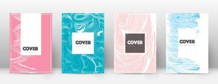 Modello di progettazione della pagina di copertina. Layout dell'opuscolo hipster. Accattivante copertina astratta alla moda. Fondo rosa e blu di struttura del grunge. Manifesto carino.