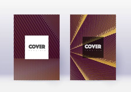 Hipster cover design template set. Gold abstract lines on maroon background. Comely cover design. Trending catalog, poster, book template etc.