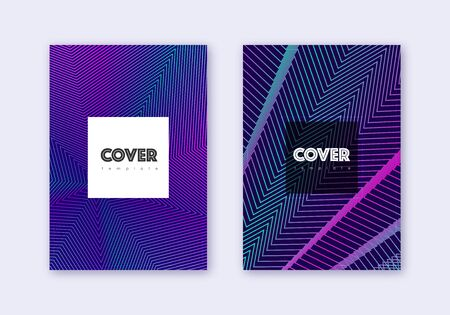 Hipster cover design template set. Neon abstract lines on dark blue background. Cool cover design. Nice catalog, poster, book template etc. Illusztráció