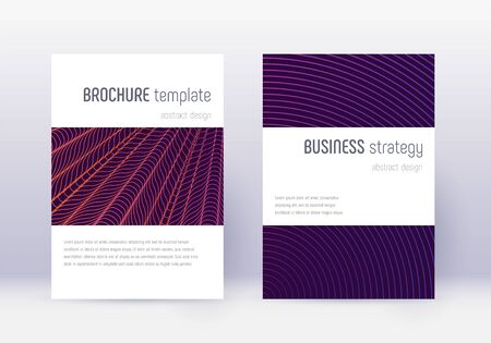 Minimalistic cover design template set. Violet abstract lines on dark background. Excellent cover design. Juicy catalog, poster, book template etc.