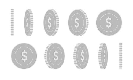 American dollar rotating coins set, animation ready. Black and white USD silver coins rotation. USA metal money. Terrific cartoon vector illustration.