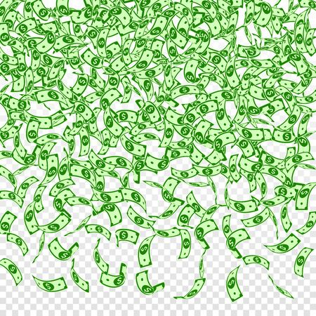 American dollar notes falling. Small USD bills on transparent background. USA money. Creative vector illustration. Popular jackpot, wealth or success concept.