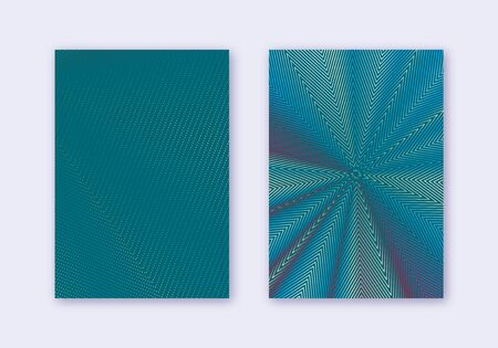 Cover design template set. Abstract lines modern brochure layout. Red white blue vibrant halftone gradients on dark background. Incredible brochure, catalog, poster, book etc. Illusztráció