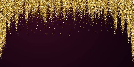 Gold glitter luxury sparkling confetti. Scattered small gold particles on red maroon background. Beauteous festive overlay template. Original vector illustration.