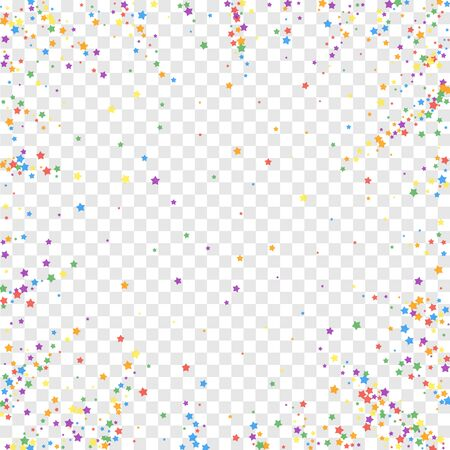 Festive confetti. Celebration stars. Rainbow bright stars on transparent background. Comely festive overlay template. Radiant vector illustration. Illustration