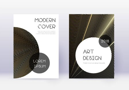 Trendy cover design template set. Gold abstract lines on black background. Good-looking cover design. Popular catalog, poster, book template etc.