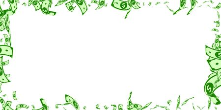 American dollar notes falling. Messy USD bills on white background. USA money. Curious vector illustration. Gorgeous jackpot, wealth or success concept.