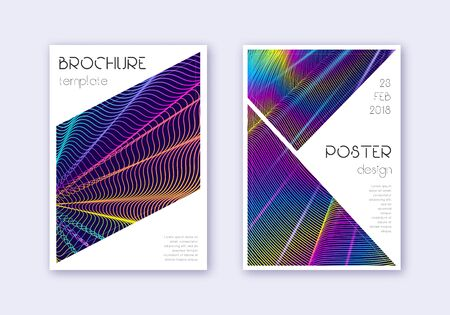 Triangle cover design template set. Rainbow abstract lines on dark blue background. Imaginative cover design. Exquisite catalog, poster, book template etc. Иллюстрация