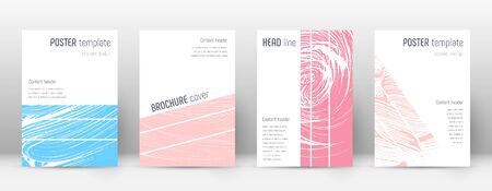 Cover page design template. Geometric brochure layout. Bold trendy abstract cover page. Pink and blue grunge texture background. Alluring poster.
