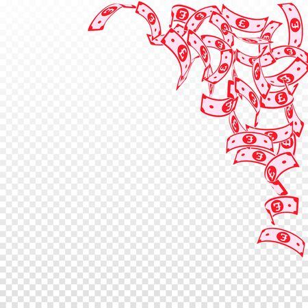 British pound notes falling. Floating GBP bills on transparent background. United Kingdom money. Beauteous vector illustration. Bizarre jackpot, wealth or success concept.