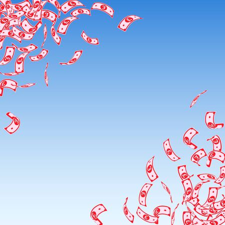 British pound notes falling. Small GBP bills on blue sky background. United Kingdom money. Authentic vector illustration. Original jackpot, wealth or success concept.