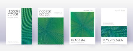 Minimal brochure design template set. Green abstract lines on dark background. Appealing brochure design. Likable catalog, poster, book template etc. Çizim