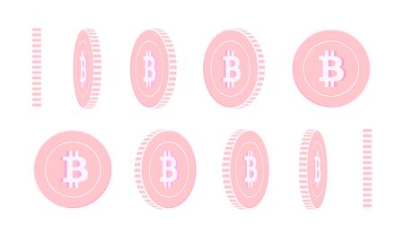 Bitcoin, internet currency rotating coins set, animation ready. Pink BTC copper coins rotation. Cryptocurrency, digital metal money. Nice cartoon vector illustration. Иллюстрация