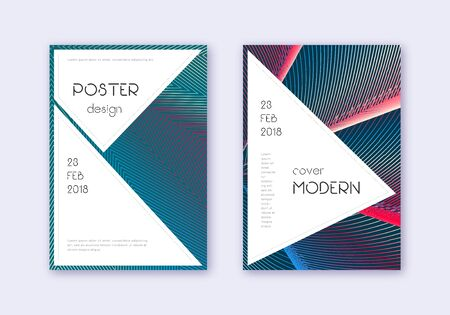 Stylish cover design template set. Red white blue abstract lines on dark background. Fascinating cover design. Emotional catalog, poster, book template etc.