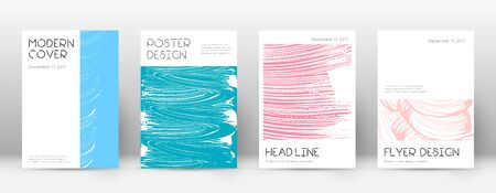 Cover page design template. Minimal brochure layout. Charming trendy abstract cover page. Pink and blue grunge texture background. Imaginative poster.