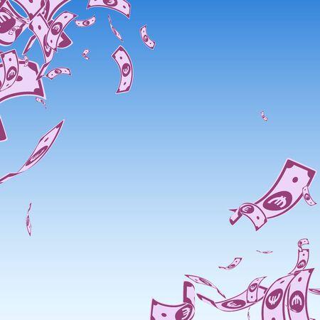 European Union Euro notes falling. Messy EUR bills on blue sky background. Europe money. Amusing vector illustration. Wondrous jackpot, wealth or success concept. Stok Fotoğraf - 129812780