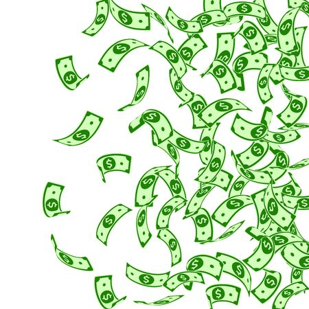 American dollar notes falling. Floating USD bills on white background. USA money. Cool vector illustration. Appealing jackpot, wealth or success concept.