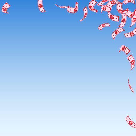 British pound notes falling. Sparse GBP bills on blue sky background. United Kingdom money. Astonishing vector illustration. Unique jackpot, wealth or success concept.  イラスト・ベクター素材
