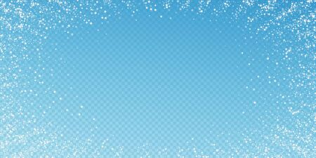 Amazing falling stars Christmas background. Subtle flying snow flakes and stars on transparent blue background. Alive winter silver snowflake overlay template. Rare vector illustration. Stock Illustratie