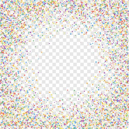 Festive confetti. Celebration stars. Childish bright stars on transparent background. Cool festive overlay template. Classic vector illustration.