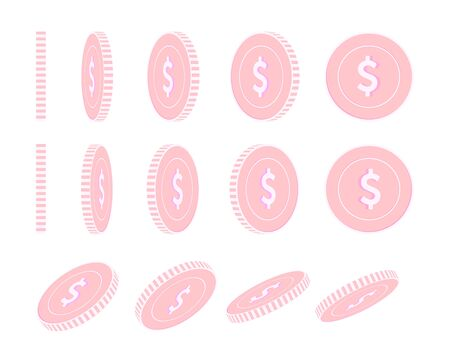 American dollar rotating coins set, animation ready. Pink USD copper coins rotation. USA metal money. Sightly cartoon vector illustration.