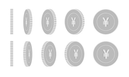 Chinese yuan rotating coins set, animation ready. Black and white CNY silver coins rotation. China metal money. Artistic cartoon vector illustration.