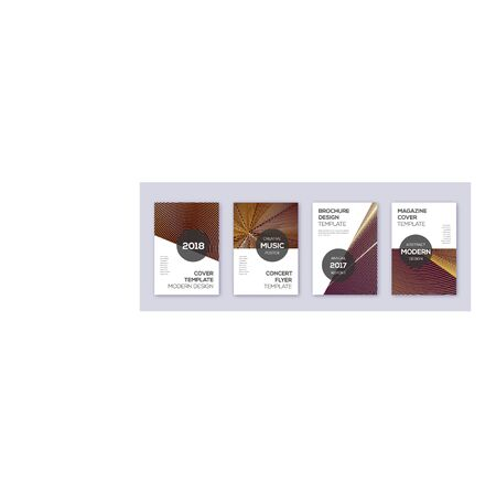Modern brochure design template set. Gold abstract lines on bordo background. Awesome brochure design. Emotional catalog, poster, book template etc. Illusztráció