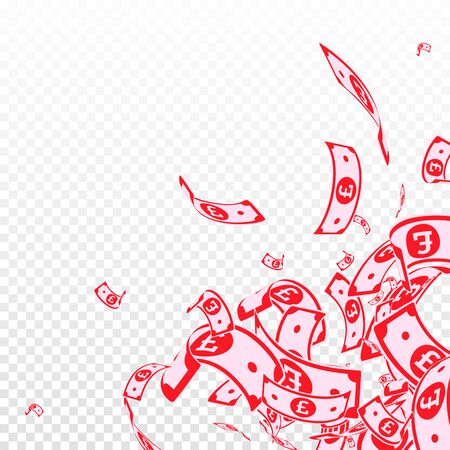 British pound notes falling. Messy GBP bills on transparent background. United Kingdom money. Awesome vector illustration. Ecstatic jackpot, wealth or success concept.  イラスト・ベクター素材