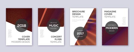 Modern brochure design template set. Orange abstract lines on wine-red background. Beauteous brochure design. Amazing catalog, poster, book template etc.