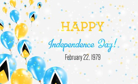 Saint Lucia Independence Day Greeting Card. Flying Balloons in Saint Lucia National Colors. Happy Independence Day Saint Lucia Vector Illustration. Illusztráció