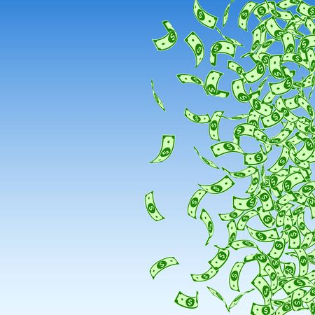 American dollar notes falling. Small USD bills on blue sky background. USA money. Cool vector illustration. Stunning jackpot, wealth or success concept.